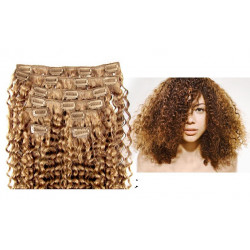 Clip in curly extensions n°14 (golden blonde) 100% human hair clip-in 24 Inch