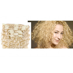 Clip in curly extensions n°613 (light blonde)100% human hair clip-in 24 Inch