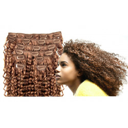 Clip in curly extensions n°12 (light chesnut) 100% human hair clip-in 24 Inch