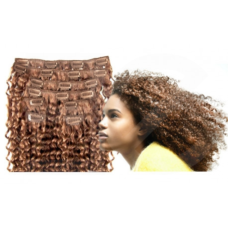 Clip in hair extensions light chesnut curly 24 inch
