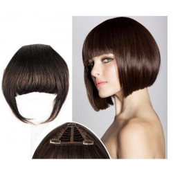 Clip in fringe N2 (dark chestnut) 100% natural hair extensions