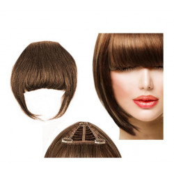 Clip in fringe N8 (chestnut) 100% natural hair extensions