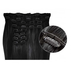 Synthetic clip in hair extensions Black extra volume 24 inch