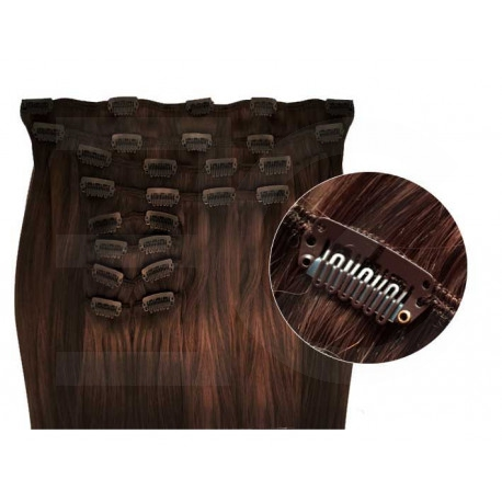 Synthetic clip in hair extensions chocolate extra volume 24 inch