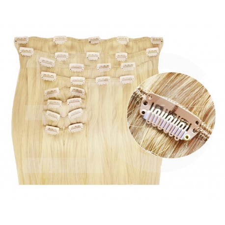 Synthetic clip in hair extensions light blonde extra volume 24 inch