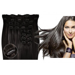 Clip in hair extensions straight n° 1B (dark brown) max volume 180g 24 inch