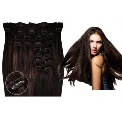 Clip in hair extensions straight n°2 (dark chestnut) max volume 180g 24 inch24