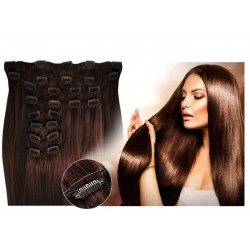 Clip in hair extensions straight n° 4 (chocolate) max volume 180g 24 inch