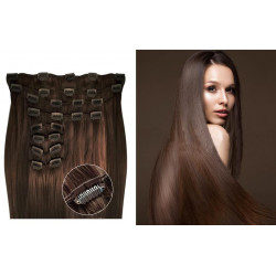 Clip in hair extensions straight n°6 (chestnut) max volume 180g 24 inch