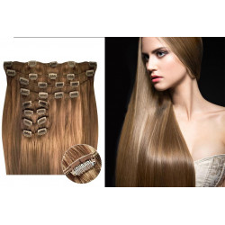 Clip in hair extensions straight n°12 (light chesnut) max volume 180g 24 inch