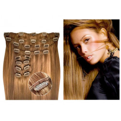 Clip in hair extensions straight n°14 (golden blonde) max volume 180g 24 inch