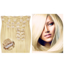 Clip in hair extensions straight n° 613 (light blonde) max volume 180g 24 inch