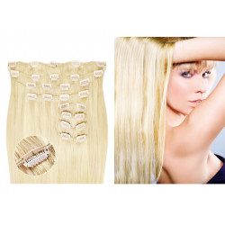 Clip in hair extensions straight n°613B (platinum blonde) max volume 180g 24 inch