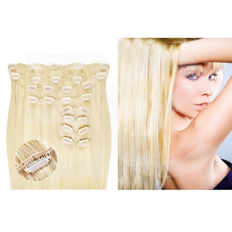 "Clip in hair extensions platinum blonde max volume 180G 24"""