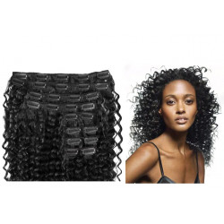 Clip in hair extensions curly n°1 (black) max volume 180g 24 inch