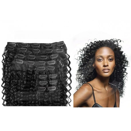 Clip in hair extensions jet black curly max volume 180G 24""