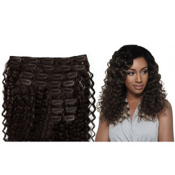 Clip in hair extensions curly n°2 (dark chestnut) max volume 180g 24 inch