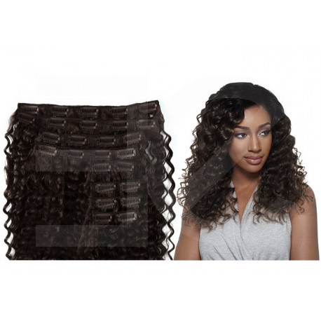 Clip in hair extensions dark brown curly max volume 180G 24""