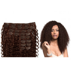 Clip in hair extensions curly n°4 (chocolate) max volume 180g 24 inch