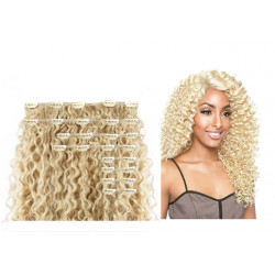 Clip in hair extensions light blonde curly max volume 180G 24""