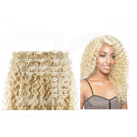 """Clip in hair extensions light blonde curly max volume 180G 24"""""""