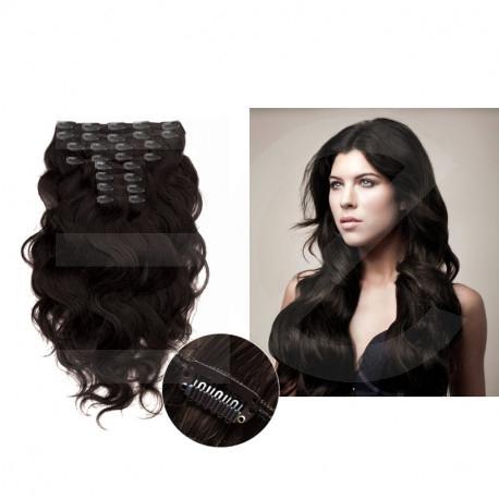 "Clip in hair extensions dark brown wavy max volume 180G 24"""