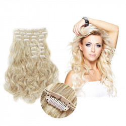 Clip in hair extensions light blonde wavy max volume 180G 24""
