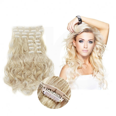 """Clip in hair extensions light blonde wavy max volume 180G 24"""""""