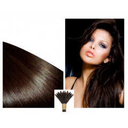Micro ring hair extensions dark brown straight 1G 24""