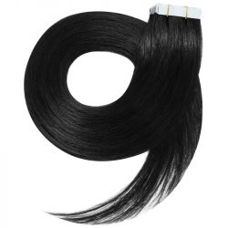 Tape in hair extensions straight n°1 (black) 28 inch