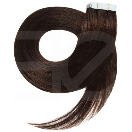 Tape in hair extensions straight n°2 (dark chestnut) 28 inch