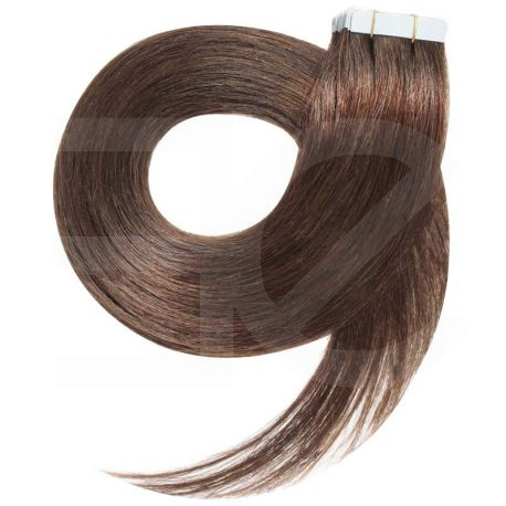Tape in hair extensions straight n°8 (chestnut) 28 inch