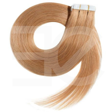 Tape in hair extensions N°27 (GOLDEN BLONDE) 100% HUMAN HAIR 18 INCH