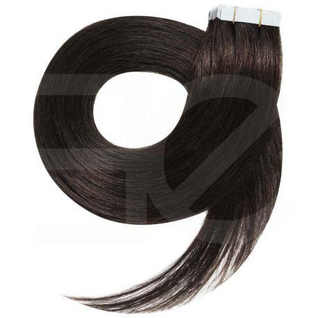 Tape in hair extensions straight n°1B (dark brown) 28 inch