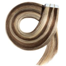 Tape in hair extensions N 4.613 ( CHOCOLATE WITH LIGHT BLONDE ) 100% HUMAN HAIR 18 INCH