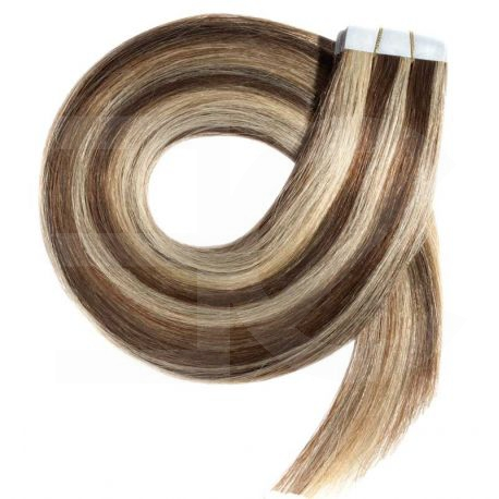 Tape in hair extensions n°4.613 (Chocolate with light blonde highlights) Tape in 100% HUMAN hair 24 inch
