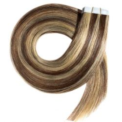 Tape in hair extensions n°8.22 (CHESTNUT WITH BLONDE HIGHLIGHTS) 100% HUMAN HAIR 18 INCH