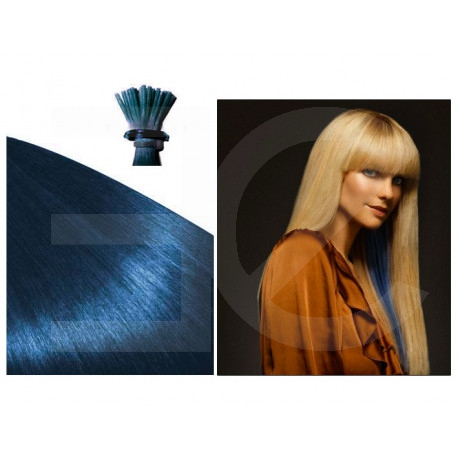 """Micro ring hair extensions blue straight 18"""""""