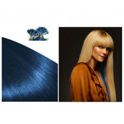 Pre bonded hair extensions blue 18""