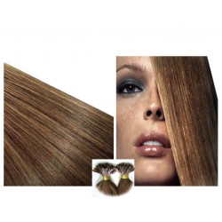 Pre bonded hair extensions light chesnut 18""