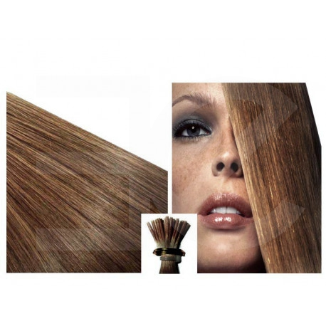"""Micro ring hair extensions light chestnut straight 24"""""""