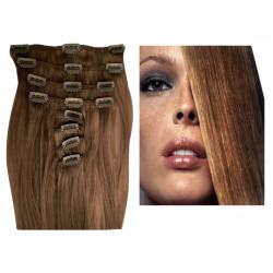 Clip in hair extensions light chestnut 24 inch