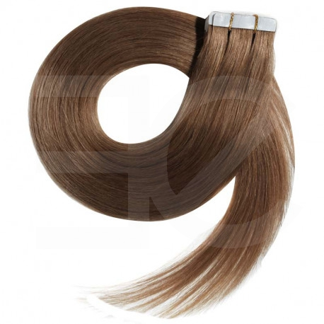 Tape in hair extensions light chestnut straight 18""