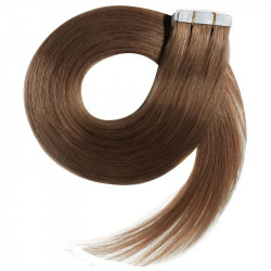 Tape in hair extensions straight n°12 (light chesnut) 28 inch