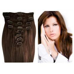 Extensions n 4 (chocolat) cheveux 100% naturels clips 55 cm