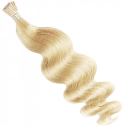 Micro ring hair extensions light blonde wavy 18""