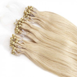 Micro loop hair extensions platinum blonde straight 18""