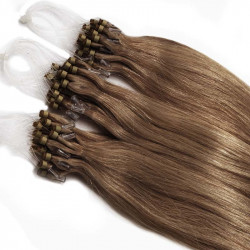 Micro loop extensions 100 % human hair n°12 (light chestnut) 18 Inch