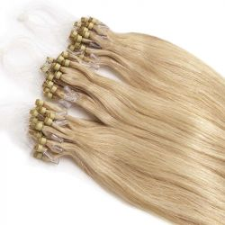 Micro loop hair extensions ash blonde straight 18""