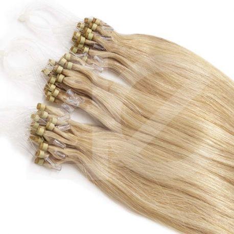 """Micro loop hair extensions ash blonde straight 18"""""""